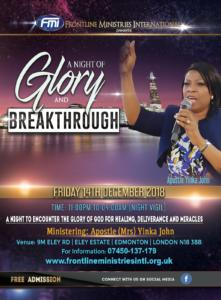 A night of Glory and Breakthrough